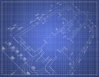 Blueprint in perspective. Technical drawing (draft) over a blue background in perspective Royalty Free Stock Images