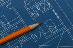 Blueprint. Picture of Apartment Plans - Blueprint royalty free stock image