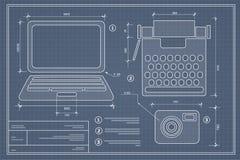 Blueprint plan outline Stock Image