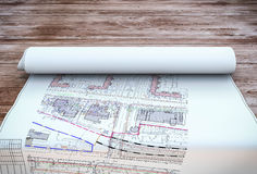 Blueprint plan on table Royalty Free Stock Photography