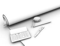 Blueprint plan and tools. Contour view. 3d illustration Stock Image