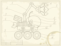 Blueprint of planet rover. Blueprint with the scheme of planet rover on old grunge paper Stock Images