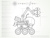 Blueprint with planet rover Stock Photos