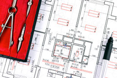 Blueprint plans with drawing tools Stock Images