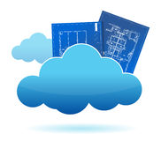 Blueprint plants cloud storage concept Royalty Free Stock Image