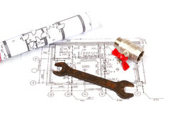 Blueprint and plumbing supplies Stock Photography