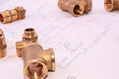 Blueprint and plumbingl items Stock Image