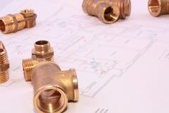 Blueprint and plumbingl items Stock Image