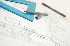 Blueprint project. Close up of blu prints project Royalty Free Stock Image