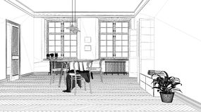 Blueprint project draft, scandinavian white and purple dining room, wooden herringbone parquet floor, table and chairs, modern. Interior design architecture vector illustration
