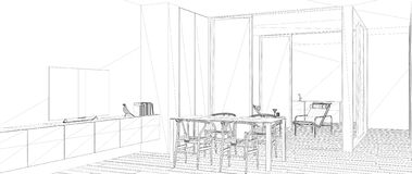 Blueprint project draft, sketch of minimalist living room with dining table, interior design concept idea, modern apartment with. Parquet floor, contemporary vector illustration