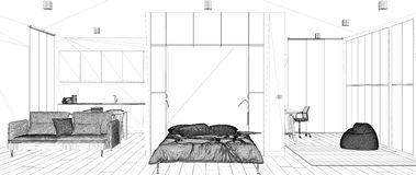 Blueprint project draft, sketch of minimalist modern Murphy wall bed in one room apartment with kitchen, interior design concept royalty free illustration