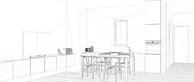 Blueprint project draft, sketch of minimalist white kitchen with dining table and parquet floor, interior design concept idea,. Modern apartment with parquet stock illustration