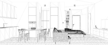 Blueprint project draft, sketch of one room apartment, minimalist white small kitchen with parquet and dining table, interior vector illustration