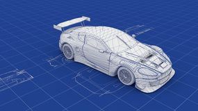 Blueprint Race Car Stock Images