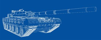 Blueprint of realistic tank Royalty Free Stock Images
