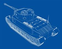 Blueprint of realistic tank Stock Images