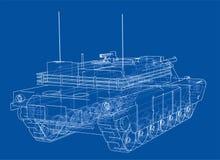 Blueprint of realistic tank Stock Photo