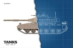 Blueprint of realistic tank. Top, front and side view. Detailed armored car. War vehicle in outline style. Blueprint of realistic tank. Top, front and side view Royalty Free Stock Photo