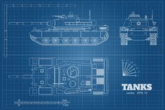 Blueprint of realistic tank. Top, front and side view. Detailed armored car. War vehicle in outline style. Blueprint of realistic tank. Top, front and side view Stock Images