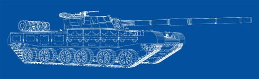 Blueprint of realistic tank Stock Photo