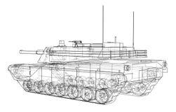 Blueprint of realistic tank Royalty Free Stock Image