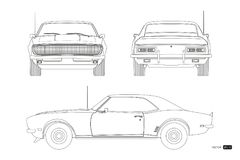Blueprint of retro car. American vintage automobile of 1960s in outline style. Front, side and back view. Classic auto. Vector illustration Stock Images