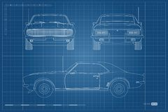 Blueprint of retro car. American vintage automobile of 1960s in outline style. Front, side and back view. Classic auto. Vector illustration Stock Image