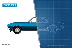 Blueprint of retro car. American vintage automobile of 1960s. Side view. Classic auto. Vector illustration royalty free illustration
