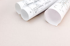 Blueprint rolls of plans, architectural project Stock Photography