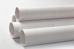 Blueprint rolls on white background Stock Photos