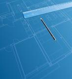 Blueprint ruler royalty free illustration
