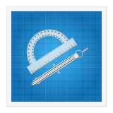 Blueprint and ruler instruments Royalty Free Stock Photos