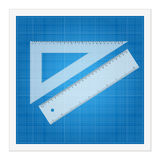 Blueprint and ruler instruments Royalty Free Stock Photography