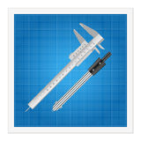 Blueprint and ruler instruments Stock Photos
