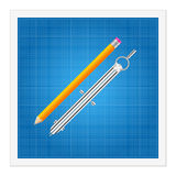 Blueprint and ruler instruments Stock Image