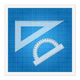 Blueprint and ruler instruments Royalty Free Stock Image