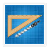 Blueprint and ruler instruments Royalty Free Stock Photo