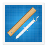 Blueprint and ruler instruments Stock Photography
