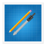 Blueprint and ruler instruments Stock Images