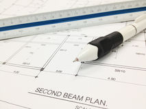 Blueprint with ruler and pen Stock Photography