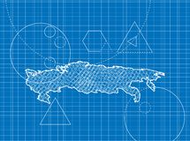 Blueprint of Russia maps Stock Image