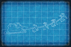 Blueprint Santa Claus sleight. Blueprint greeting card cover of Santa Claus riding a sleigh led by reindeers Royalty Free Stock Image
