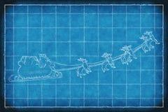 Blueprint Santa Claus sleight Royalty Free Stock Image