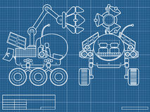 Blueprint of planet rover. Blueprint with the scheme of planet rover Stock Photo