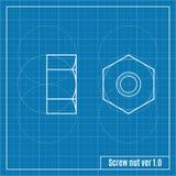 Blueprint of screw Stock Photography