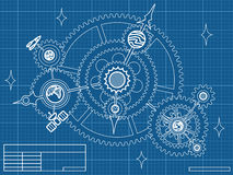 Blueprint of space mechanic. With planets, stars, gearwheels Royalty Free Stock Photo