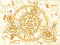 Blueprint of space mechanic. With planets, gearwheels Stock Photography