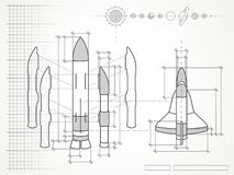 Blueprint - space shuttle scheme and planets Royalty Free Stock Photography