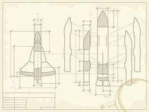 Blueprint of the spaceship. Shuttle Stock Images